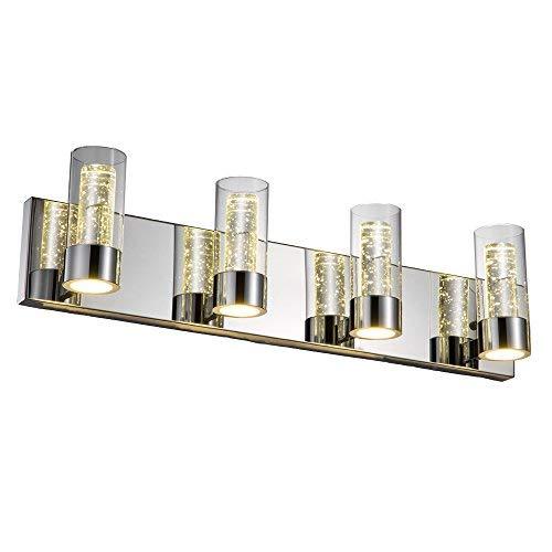 (JINZO LED Bathroom Vanity Lighting Fixture Bathroom Lights-4 Lights with Champagne Bubble Cylinder Chrome Finish. (Chrome) )