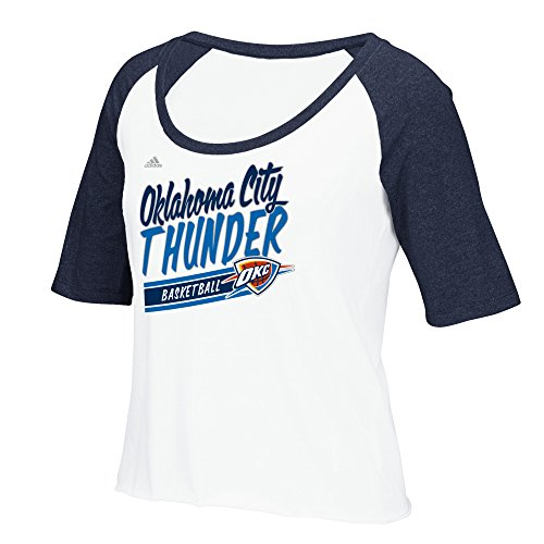 NBA Oklahoma City Thunder Women's Stripe Slant Short Sleeve Color Block Tee, Medium, White