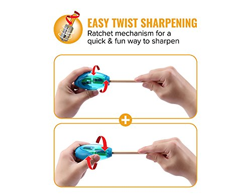 Bostitch Office Twist-N-Sharp Manual Pencil Sharpner, 2 Holes for Standard and Jumbo Pencils with Rachet Technology, Perfect Kids Pencil Sharpener (PS2-ASST) by Bostitch Office (Image #1)