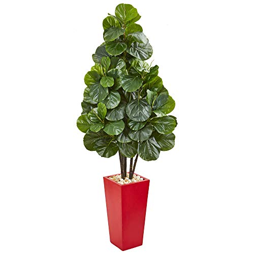 Nearly Natural 9383 58-in. Fiddle Leaf Fig Artificial Red Tower Planter Silk Trees, - Fig Trees Silk