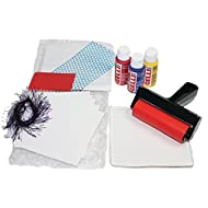 Gelli Arts Paper Quilt Printing All in One DIY Craft Set with Gel Printing Plate, Premium Acrylic Paint, Roller, Paper, Design Elements, Storage Container- Art Reflects Beauty of Quilt, Easy Clean Up
