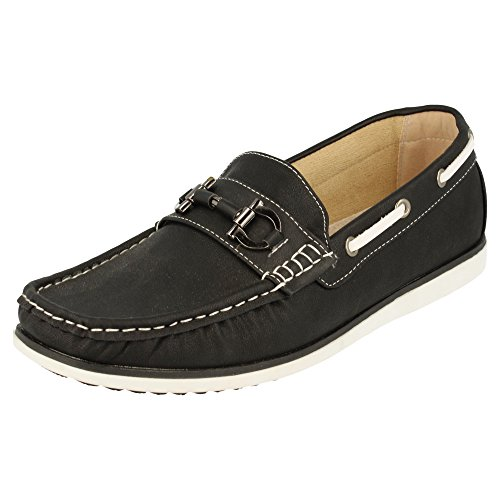 Piso con Zapato metálico BlanL7ul9X8hod los Clásicos y con Negro Remaches Antifaz metálicos Cordones Laterales Náutico 44qaCw7