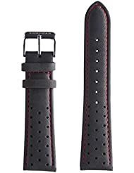 Armogan Genuine Suede Rally Perforated Leather Watch Strap - Black - Mens Wristwatch Band - SR19S - 22mm width