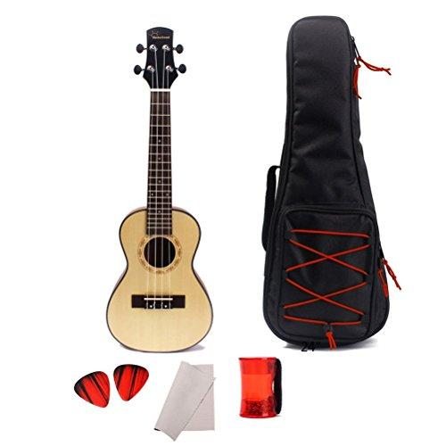 Healifty 24 Inch Acoustic Ukulele Solid Spruce Concert Guitar 4-String Hawaiian Guitar Rosewood Fretboard Bridge with Gig Bag Sand Shaker Rhythm Ring Maraca Guitar Picks Plectrums