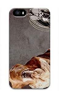 iCustomonline A Basset Who Is Sitting With Flying Ears In Fron Case for iPhone 4 4S 3D