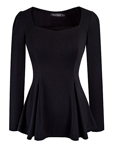 (HOMEYEE Women's Vintage Square Neck Long Sleeve Peplum Tops Blouse 542(XL,Black))