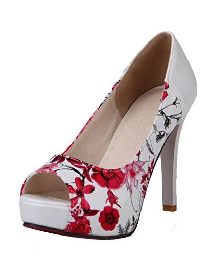YE Damen Peep Toe Pumps Stiletto High Heels Plateau mit Blumenmuster und 10cm Absatz Elegant Party Schuhe Rot