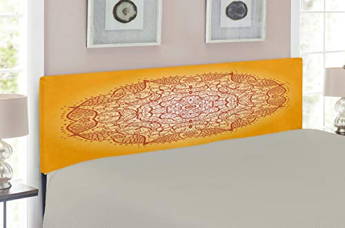 Lunarable Mandala Headboard, Retro Oriental Circular Mehndi Inspired Curve Form Kirsch Image, Upholstered Decorative Metal Headboard with Memory Foam, for Queen Size Bed, Dark Orange Marigold
