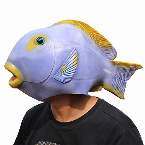 (CreepyParty Deluxe Halloween Costume Party Latex Animal Head Mask Tropical Fish Purple )