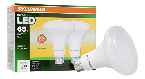 Br30 Reflector Lamp (SYLVANIA LED BR30 Reflector Lamp, 9W (65W equivalent), Medium Base (E26/24), Warm White (2700 K), 800 Lumen, 2-pack)