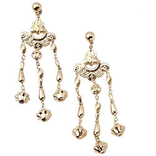 Gold Tone Ornate Chandelier Pierced Statement Earrings Long 5