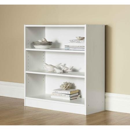 Mainstays 3-Shelf Bookcase | Wide Bookshelf Storage Wood Furniture (White) For Sale