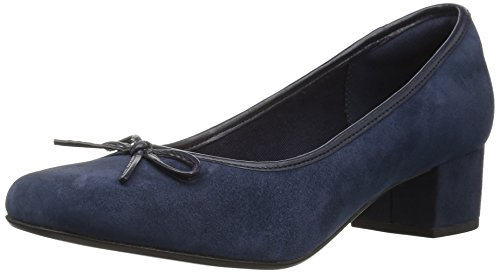 Clarks Womens Chartli Daisy Dress Pump Navy Suede