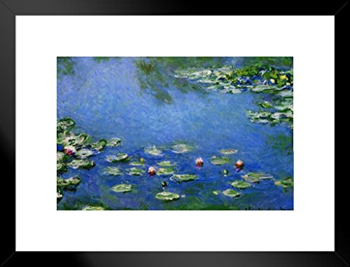 Poster Foundry Claude Monet Water Lilies Nympheas 1906 Oil On Canvas French Impressionist Painting Matted Framed Wall Art Print 20x26 inch
