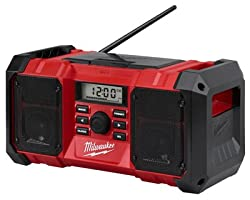 Milwaukee 2890-20 18v Dual Chemistry M18 Jobsite Radio With Shock Absorbing End Caps, Usb 2.1a Smartphone Charging, & 3.5mm Aux Jack