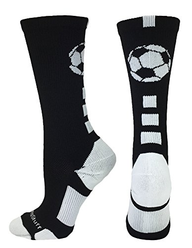 Soccer Ball Crew Socks (Black/White, Large)
