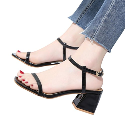 Square Toe Buckle - Clearance Sale! ❤ Universal Boho Braided Sandal for Women, Junior Girl Gladiator Flip-Flop Thong Slipper Square Toe High Heel Ankle Strap Sandal Flat Summer Shoes with Buckle (Size 7, Black)