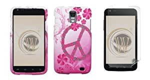 Cerhinu Samsung Galaxy S II Skyrocket (AT&T) Premium Combo Pack - Pink Peace Flowers on White Design Rubberized Shield...