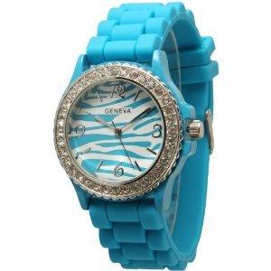 Turquoise Blue Zebra Silicone Watch w/ CZ Crystal Rhinestones Ceramic Look
