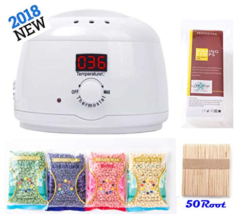 Wax Heater, Warmer, Portable Electric Depilatory Hair Removal Waxing Kit Pearl Hot Wax Machine with 400 ml Removable Wax Pot, 4 Packs 100g Hard Wax Beans & 50 Wax Applicator Sticks & 50 Waxing Paper
