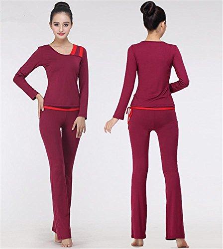 sport Femme costume yoga hiver de vêtements vin de à danse vêtements formation red longues manches de qT4SAw