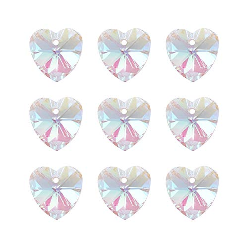 Pandhall 100Pcs Faceted Crystal Glass Heart Beads Hanging Pendants AB Color Plated Clear for Bracelet Making 14x8x1mm(0.55