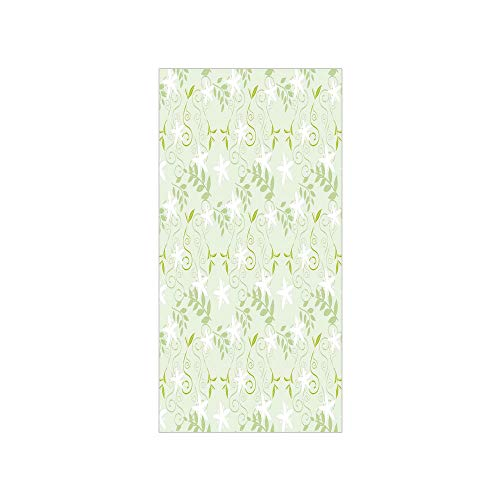 3D Decorative Film Privacy Window Film No Glue,Mint,Swirling Floral Branches with Leaves and Flower Florets Nature Print,Lime and Fern Green White,for Home&Office