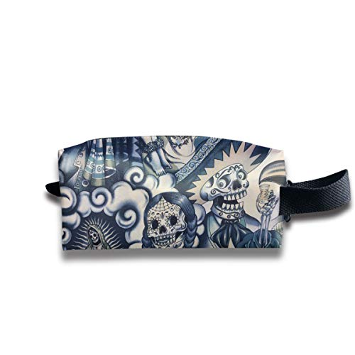 AHOOCUSTOM Mexico Indigo Sepia Tone Multifuncition Travel Canvas Cosmetic Bag Makeup Bags Waterproof Multi-Purpose Storage Tote with Zipper and Hanging ()