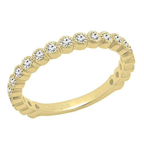 Gold Unique Diamond Eternity Band (DazzlingRock Collection 0.50 Carat (ctw) 14K Yellow Gold Round White Diamond Wedding Eternity Band 1/2 CT (Size 6.5))