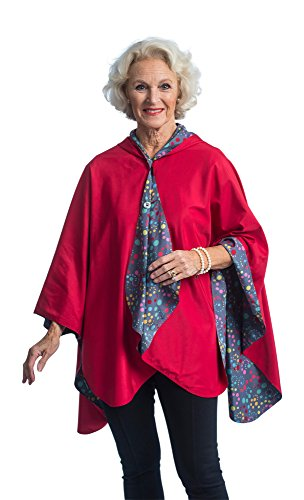 Dot Floral Fabric - RainCaper Rain Poncho for Women - Reversible Waterproof Hooded Cape in Gorgeous Ultrasoft Colors (Berry & Swirl Dots)