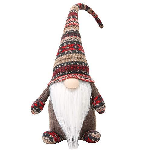 LARLIFE Handmade Christmas Gnome Decoration Swedish Figurines (Brown) (Holiday Handmade Decorations)