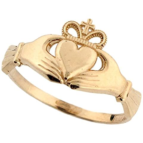 14k Real Gold Irish Claddagh Friendship and Love Crown with Cross Ring (Womens Gold Claddagh Ring)