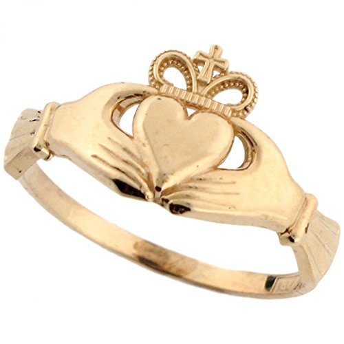 14k Real Gold Irish Claddagh Friendship and Love Crown with Cross Ring