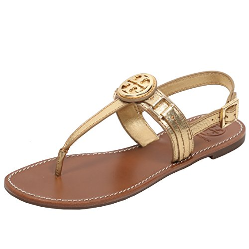 Tory Burch Cassia Flat Thong Sandal French Calf Leather (8, - Gold Burch Tory