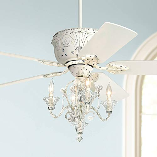 52 Casa Deville Vintage Chic Ceiling Fan with Light LED Crystal Chandelier Rubbed White for Living Room Kitchen Bedroom Family Dining – Casa Vieja