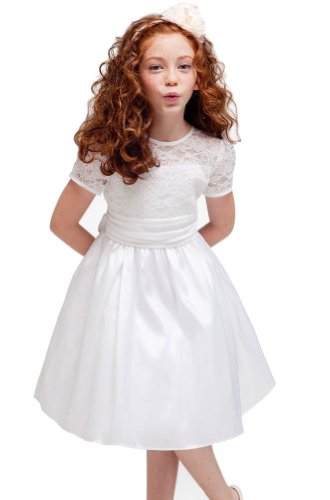 KID Collection Girls White Flower Girl Pageant Dress Size 8