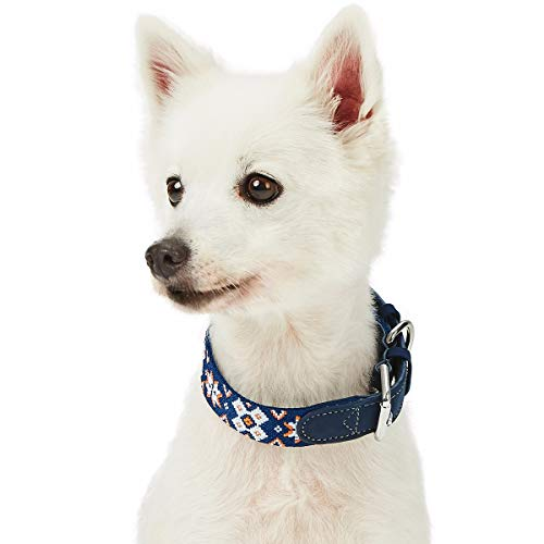 Blueberry Pet 2019 New 6 Designs Modern Tribal Print Navy Braided Polyester Fabric Webbing and Soft Genuine Leather Dog Collar, Medium, Neck 15