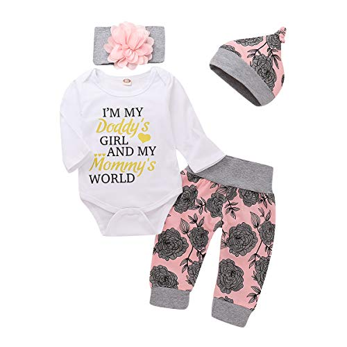 4Pcs Baby Girls Clothes Set Daddy's Girl Romper Tops+Floral Pants+Hat+Flower Headband (Gold, 3-6 Months) ()