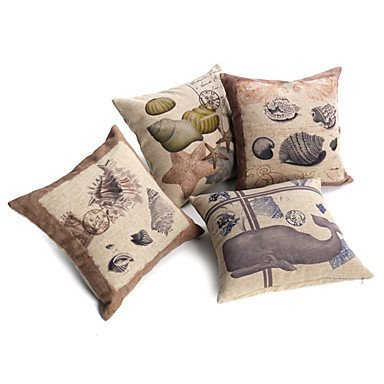Nautical Decorative Pillow Covers : Set of 4 Nautical Print Linen Decorative Throw Pillow Covers - Beachfront Decor