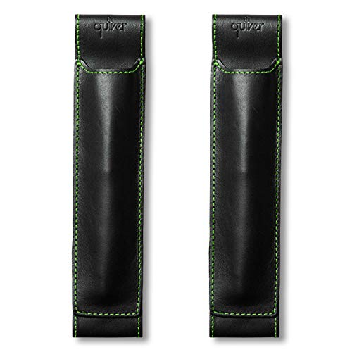 - QUIVER Notebook Pen Holder | Elastic/Reusable/Non-Adhesive | for Hardcover Notebooks Like Moleskine/Leuchtturm1917/AmazonBasics Classic 8-8.5 Inches Tall (Black Leather/Green Stitching)(2pk)