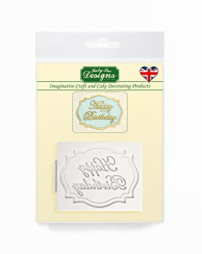 Katy Sue Designs Mini Plaque (Happy Birthday) Silicone Mold for Cake Decorating, Cupcakes, Sugarcraft, Candies, Clay, Crafts and Card Making, Food Safe