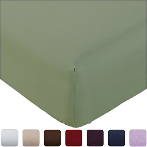 Mellanni Fitted Sheet King Olive-Green - HIGHEST QUALITY Brushed Microfiber 1800 Bedding - Wrinkle, Fade, Stain Resistant - Hypoallergenic - (King, Olive Green) - King Fitted Sheet Olive