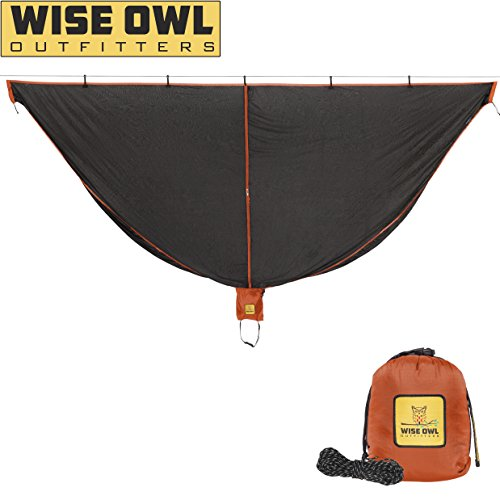 Net Hammock Bug - Hammock Bug Net - SnugNet by Wise Owl Outfitters - The Perfect Mesh Netting Keeps No-See-Ums, Mosquitos and Insects Out - Black and Orange