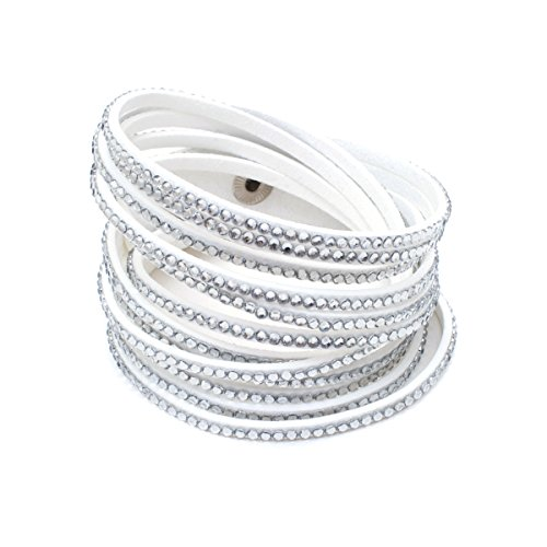 Barzel Leather Created Austrian Crystals Wrap Bracelets (Many Options Available) (White with White ()