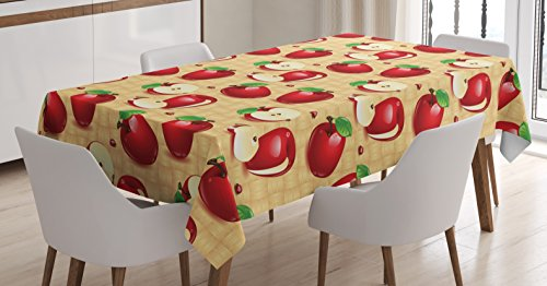 Lunarable Apple Tablecloth, Red Apples Whole and Sliced on Wicker Natural Wood Background Graphic Print, Dining Room Kitchen Rectangular Table Cover, 52