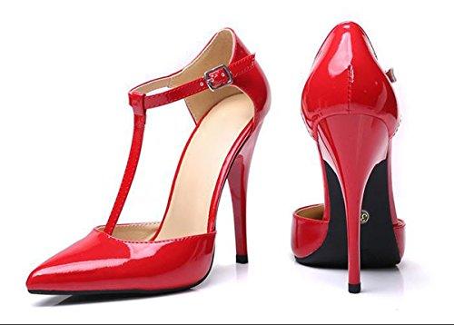 suggerimenti Moda Sandali 37 Strap tacchi AJUNR Da per T 10cm alti Sexy Donna ripartiti Alla il rosso IF4Ywqd