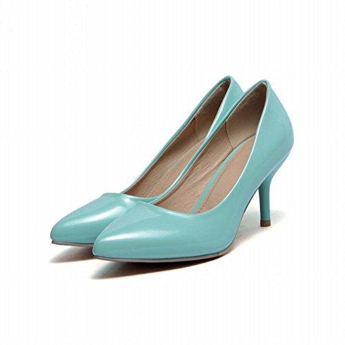 Escarpins Enfiler Turquoise MissSaSa Moyen Talons à Femmes Fermetures F7xn5O