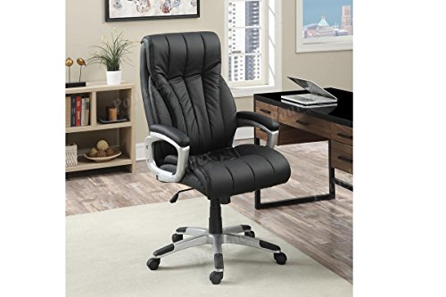 (Brand New Office Chair with Plush Seating and Back Support in Black Faux Leather with a Silver Accents)
