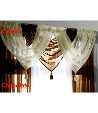 Voile Curtain Swag Ready Made Tassled Swags Sheer Cream