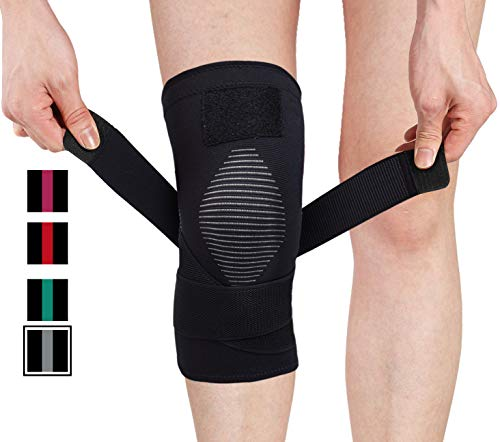 Venture Pal Knee Compression Non-Slip Sleeve with Detachable Strap- Best Knee Brace Support for Running,Soccer, Basketball,Gym - Perfect Treatment for Joint Pain Relief,Meniscus Tear,Arthritis